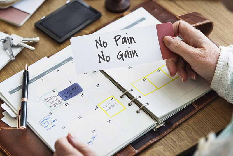 Investing - No Pain No Gain Concept