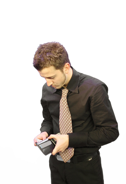 Business Man looking at his wallet