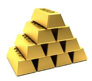 Pile of gold bars stacked in a pyramid isolated over white